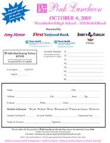 2019 Pink Luncheon Individual Ticket Form